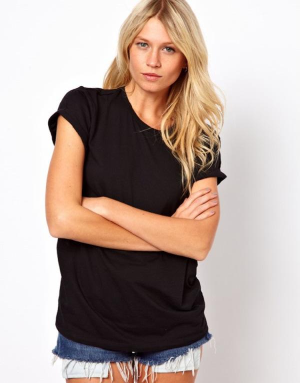 2015 new European American women back laser Filigree angel wings black round neck T-shirt QZ2550 - Cowee Trade co., LTD. store