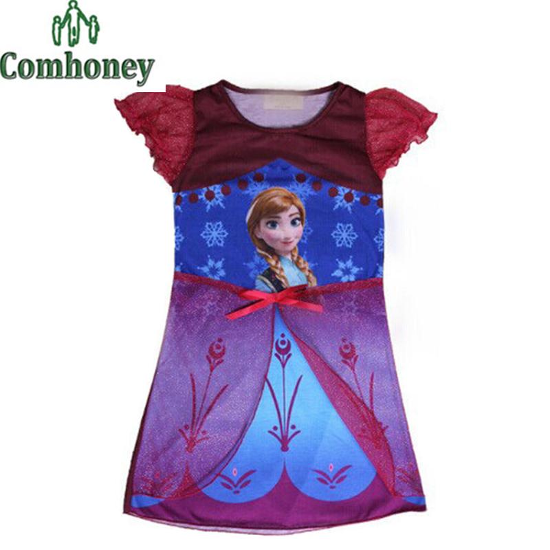 Snow Queen Children Nightgown for Girls Sleepwear Anna Elsa Baby Nightie Princess Nightdress Kids Silk Night Dress Gown Pajamas(China (Mainland))