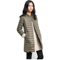 Down Jackets Women 2017 Winter Autumn Ultralight White Duck Down Coat Long Casual Thin Parkas Slim