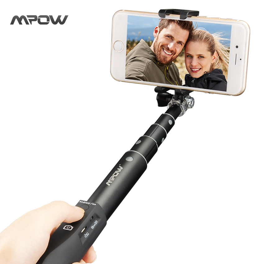 Mpow MBT15B Selfie Stick Bluetooth Extendable Adjustable Aluminum Monopod Remote Shutter for GoPro Hero Cameras Android iOS(China (Mainland))