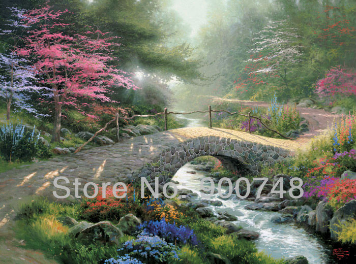 Buy Free Shipping Thomas Kinkade Art Prints Bridge Of Faith Landscape Painting