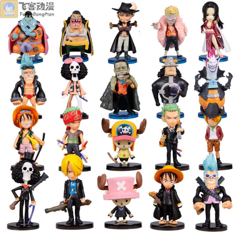 Japanese Anime Animation One Piece Luffy Zoro Action Figures PVC Figures Collection Model Q Version Toys 20pcs/set