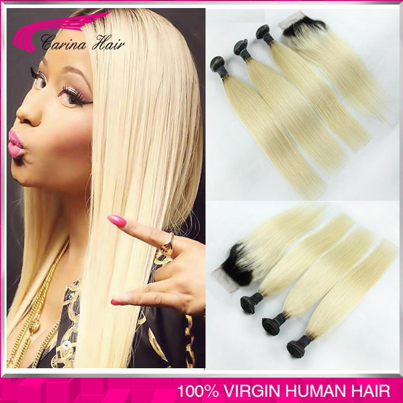 Ombre Brazilian Hair 1b/613 Virgin Hair Straight 3/4PCS With Lace Closure Dark Root Blonde Hair 8-30 Ombre Hair Extensions<br><br>Aliexpress