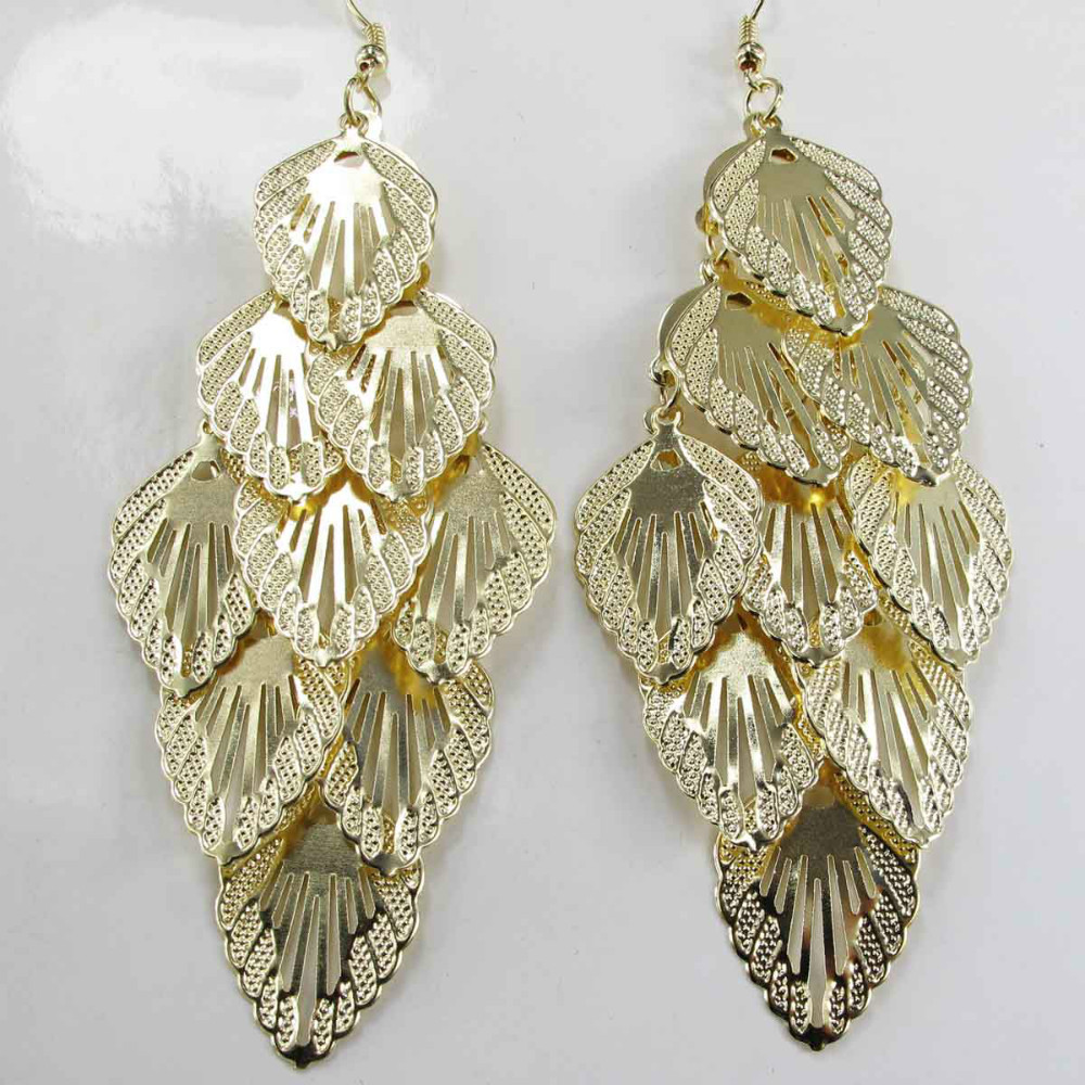 Design Lady Bib Statement clear crystal long Ear Studs gold filled earring hot free shipping e41(China (Mainland))