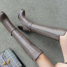 Phụ Nữ Mùa Đông Giày Da PU Vuông Cao Cấp Đầu Gối Giày Cao Dây Khóa Kéo Màu Thời Trang Nữ Plus Kích Thước 2018 Mới màu Nâu Đen(China)