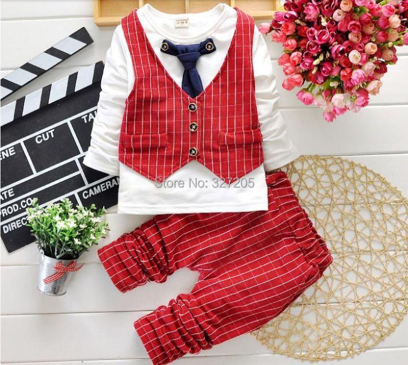 2015 new children boy spring clothing set 3 pieces Gentleman Suit plaid uniform baby boy'sfshion clothing(China (Mainland))
