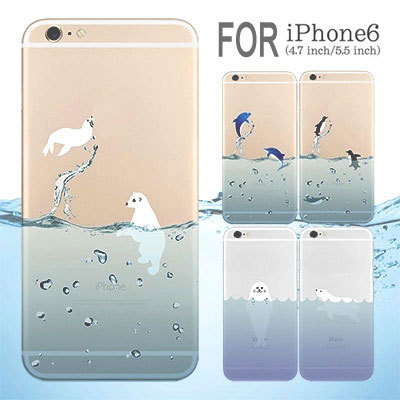 A18 TPU Material Transparent Sea animals Penguin Polar Bear Design cartoon phone case Apple iphone 6 (4.7inch) 6plus covers - Shenzhen Jexon Technology Co., Ltd store