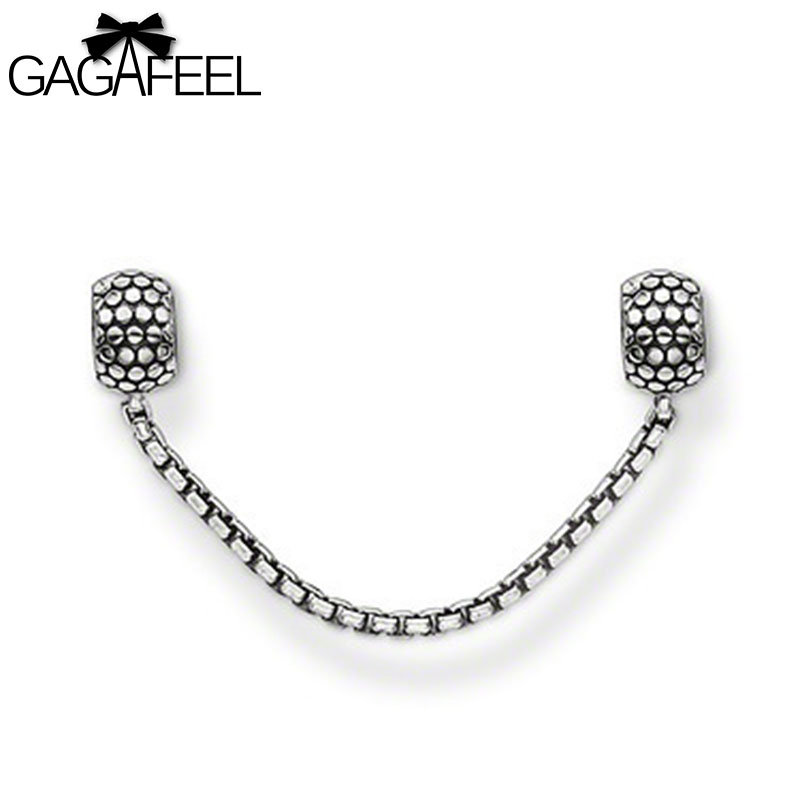 Fashion Women Jewelry Silver European Safety Chains Loose Beads Female Charm Bracelets Bangles DZ1390 - Gagafeel Factory Co., Ltd store