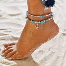 ZORCVENS moda czeski imitacja perły rozgwiazda Charms bransoletki obrączki dla kobiet lato łańcuszek na kostkę biżuteria powlekana prezent(China)