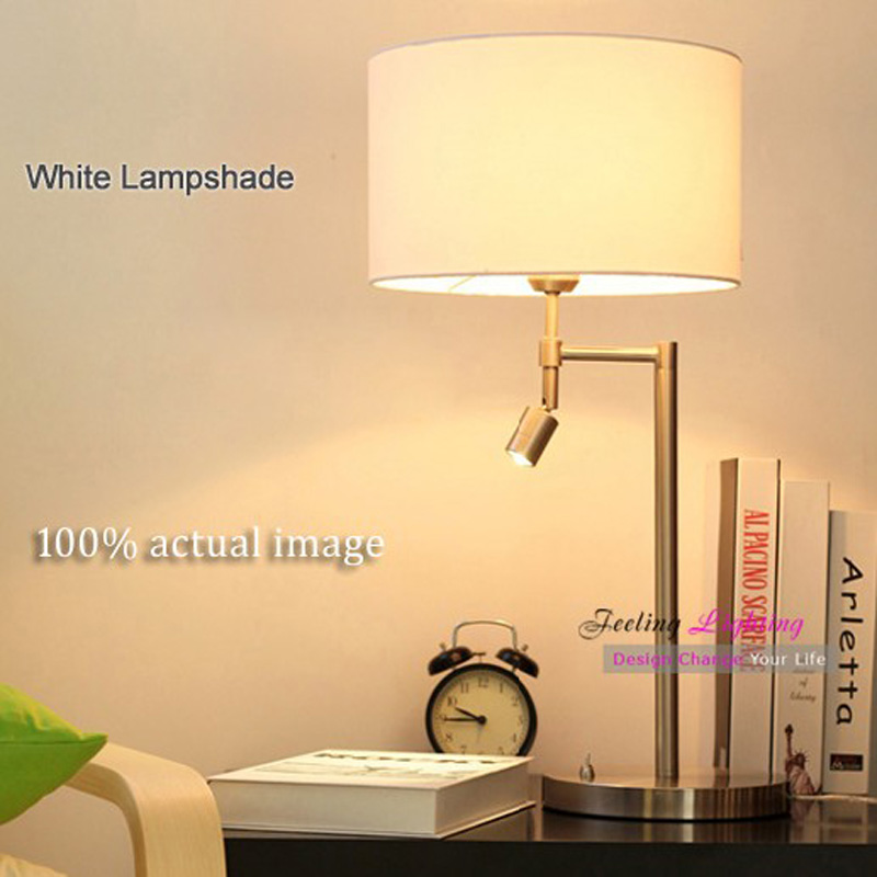 LED Table Lamp Creative Protecting Eye LED Table Lamp Contemporary Linen Fabric Shade,Plated Metal Desk Light,White,Brown, E27(China (Mainland))