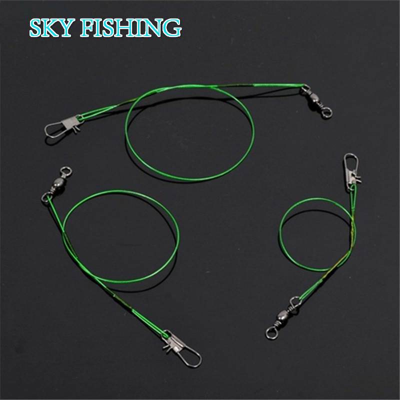 20pcs/lot Green Stainless Steel Fishing Line Fishing Trace Lures Braid Nylon fishing line Leader Steel Wire Spinner 15/20/24cm(China (Mainland))