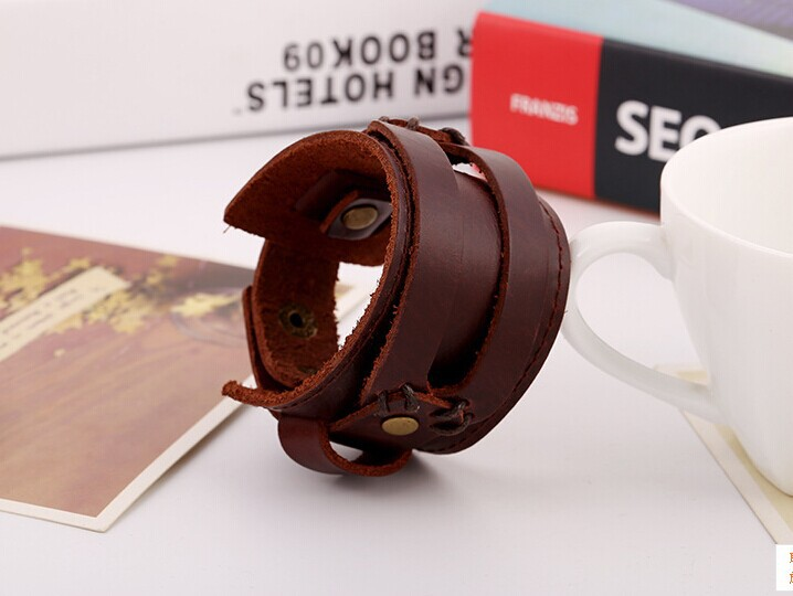 2015 latest design 100 Genuine Cowhide leather Buckle Punk cuff wide Bracelet Wristband men boys men