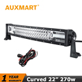 Auxmart 22 Inch Curved LED Light Bar CREE Chips 270W Tri Row Offroad Light Bar Combo