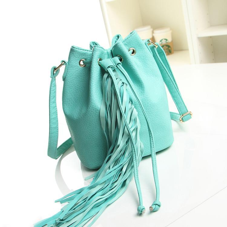 Ethnic Drawstring Bucket Bags Fringe Bag Designer Cross Body Bag Blue Elegance Women Leather Handbags Pink Shoulder Bags(China (Mainland))