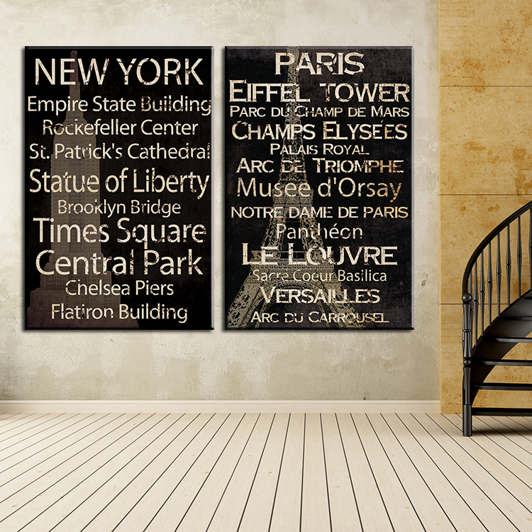 2 piece new york and paris top decorative wall paintings for home decor idea oil painting art print on canvas No Framed !(China (Mainland))