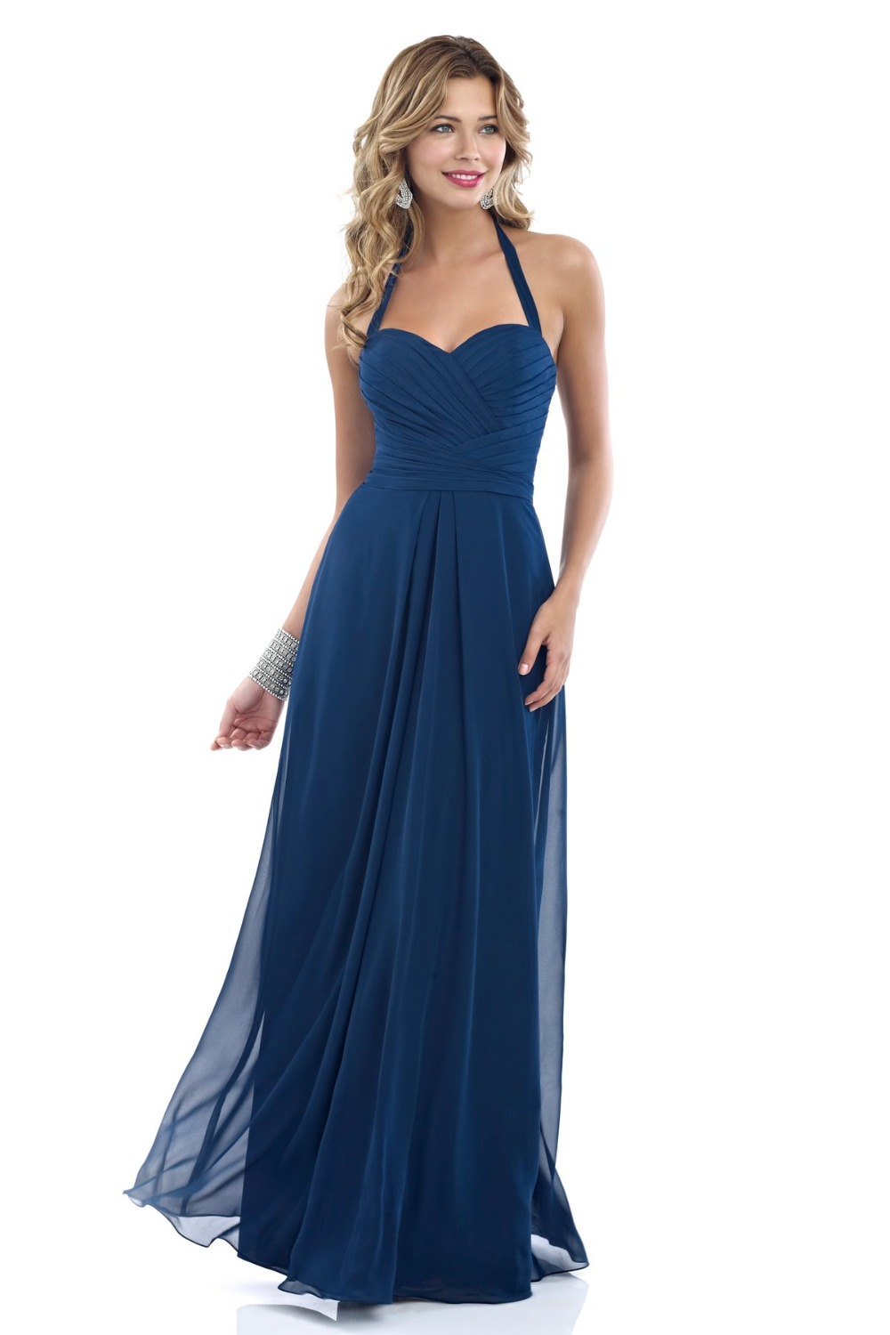 Long floor length navy blue bridesmaid dresses in chiffon for Aline halter wedding dresses