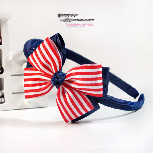 Free shipping Korean version of the new girls red and white striped double blue headband hair bands(China (Mainland))