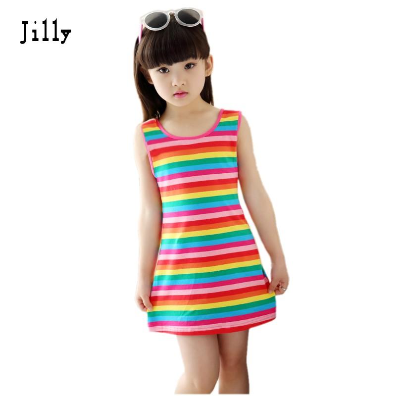 Children Girls' Clothing Seeveless Rainbow Stripes Summer Girl Dress 100% Cotton 3-14 Years Kids Vest Dresses For Teenage Girls(China (Mainland))
