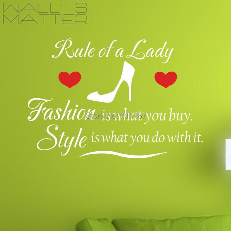 Free Shipping Home decor rule of a lady Wall Art Sticker