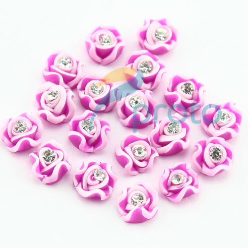 200pcs/bag Hot Pink Handmade Ceramic Rose Flower Rhinestone for Nail Art Decoration and Iphone and Laptop Decoration SKU:D0218
