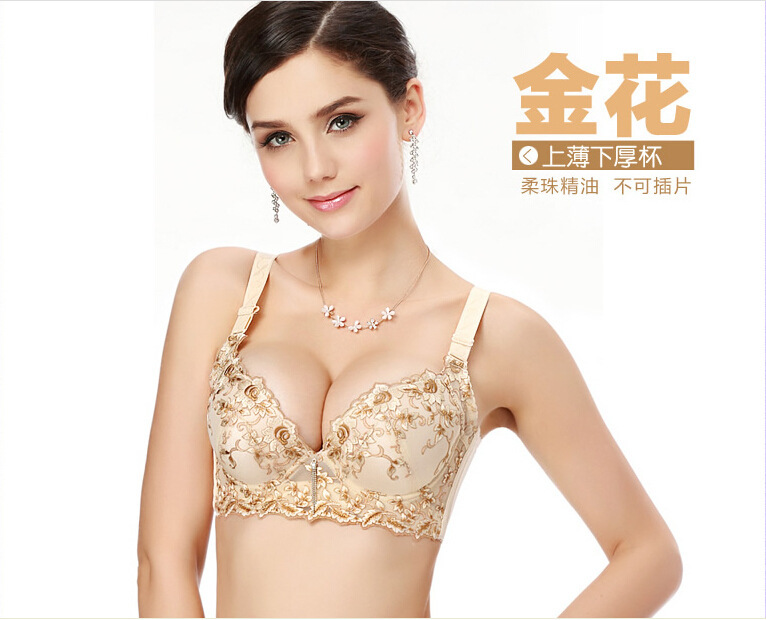 Luxury Deep V Lingerie New Brand Sexy Plus Size Multi Color Push Up Bra Floral Embroidery Lace Women Underwear Bras for Women