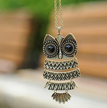x293 Free Shipping Korea Lovely Jewelry, Ancient Bronze Owl Necklace,oxeye black gem Ancient the Owl Sweater Chain