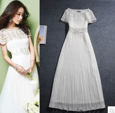 Hongkong IT purchasing Korea SZ2015 summer lace embroidered white Pleated mopping(China (Mainland))