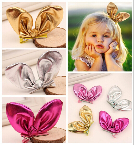 New Arrival!!!2015 Infant Baby Girls Shinny Barrettes Toddlers Fashion 3D Bunny ear lovely Ornaments Children's hair accessories(China (Mainland))