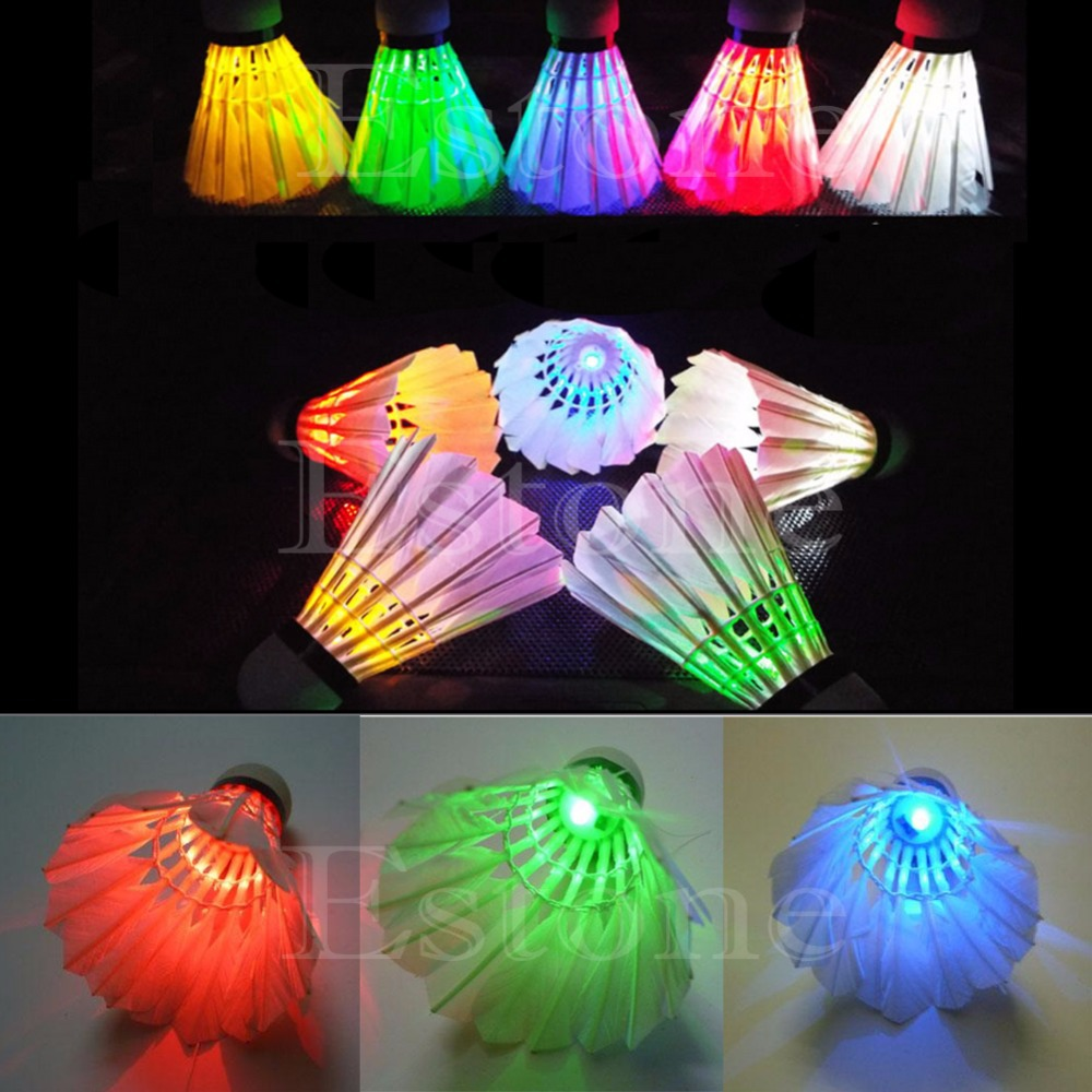 New 4Pcs Lighting Badminton Birdies Dark Night Colorful LED Shuttlecock(China (Mainland))