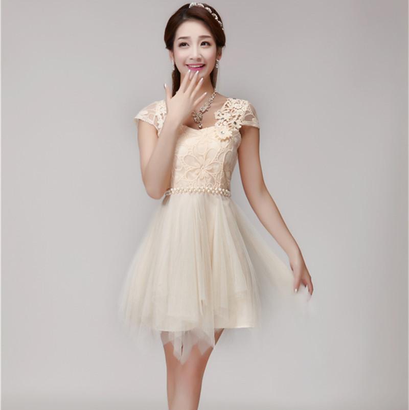 JBP8320#Wholesale cheap real photo organza 2016 summer new fashion Manual nail bead nets yarn bridesmaid dress(China (Mainland))