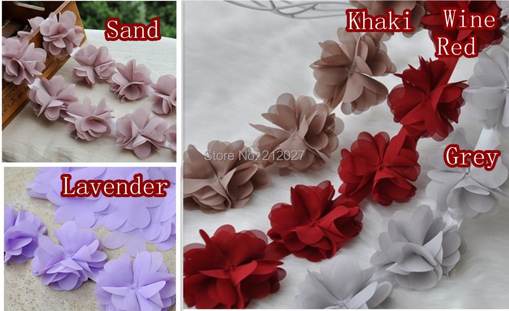 "Free Shipping 2.5"" colorful Chiffon Rose Trim,shabby Chiffon Flowers,Hair Accessories Fabric Flower Chiffon Trim 5yards/lot mix(China (Mainland))"