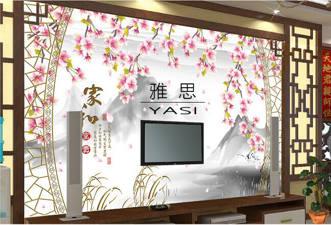Chinese large custom mural wallpaper seamless background wallpaper paste classic TV character ink painter and wealth(China (Mainland))