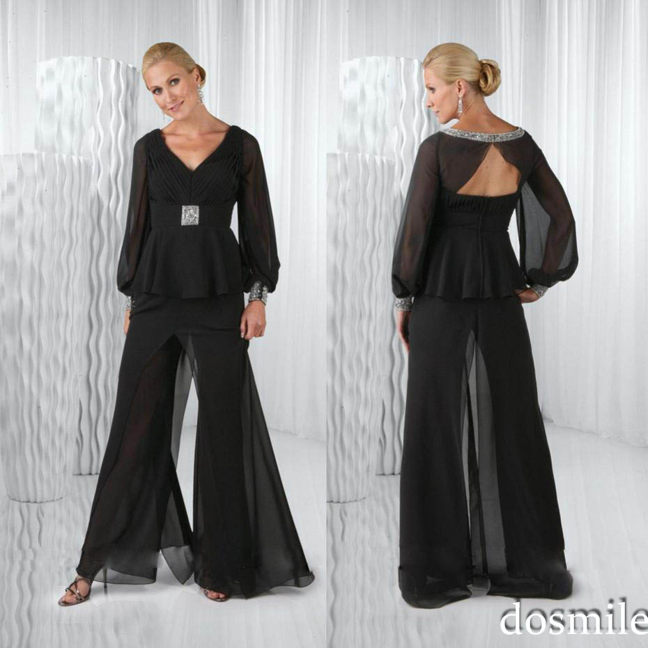 Plus size 2016 black chiffon mother of the bride pant for Dress pant suits for weddings plus size
