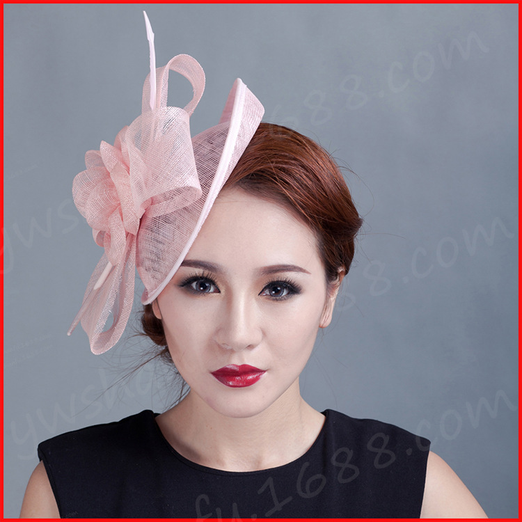 women flowers Fascinator feather ladies sinamay hat hair wedding party fascinators 2015 New handmade Feather Flower Hair Clip(China (Mainland))