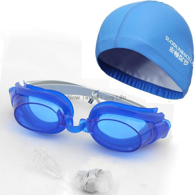 Swimming set: Waterproof PU Cap & Goggles