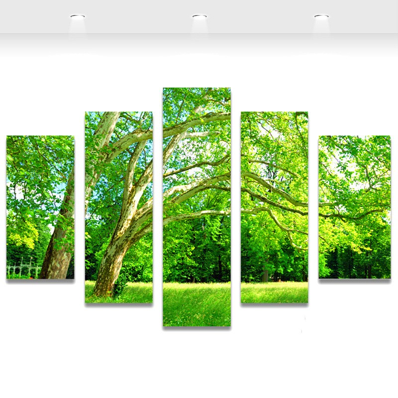5-Panel-Wall-Art-Green-Tree-Painting-Canvas-Prints-Wall-Paintings-Picture-for-Living-Room-Modern_