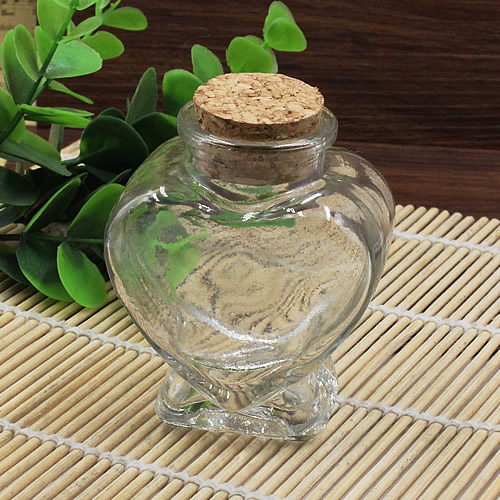 2PCs Small Tiny Clear Empty Wishing Drift Glass mini cute Bottle Message Vial With Cork Stopper 41x62x75mm Height 75mm (K05079)(China (Mainland))