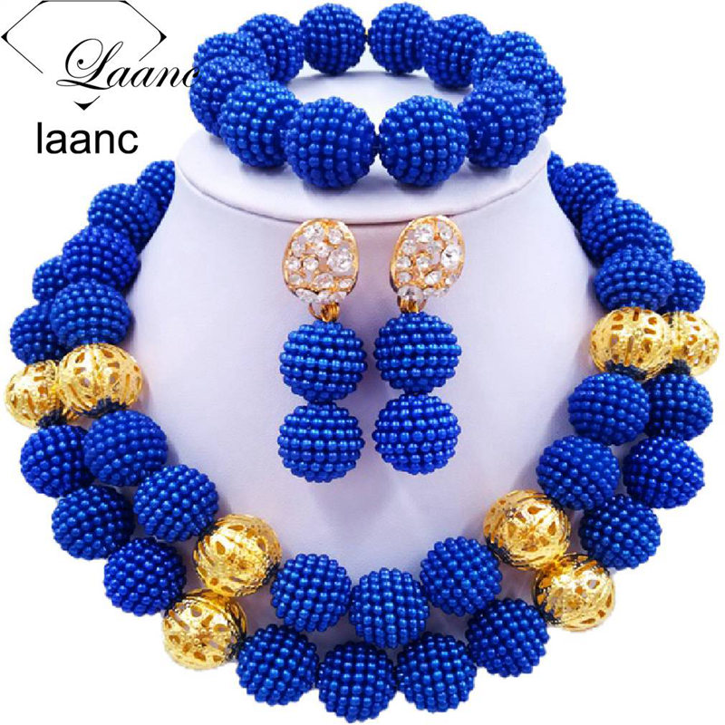 01-African Simulated Pearl Beads Jewelry Set Singe Color (1)