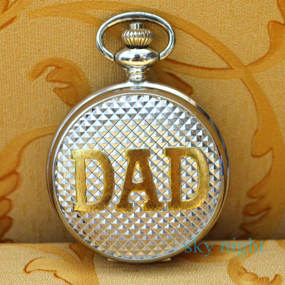 Modern Vintage Great Dad Silver case Gloden pocket watch pendant mechanical best gift dad 12pc/lot - Sky Youngs store