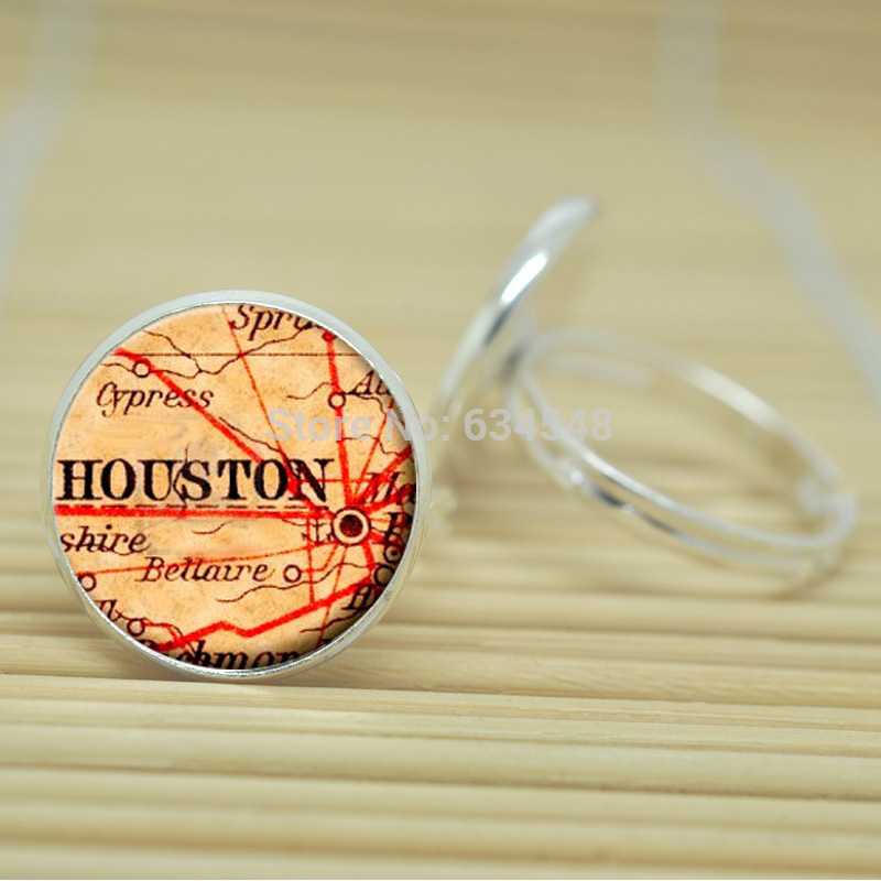 1pcs Vintage map of Houston rings Old map of Houston jewelry glass Cabochon Adjustable Rings D1985(China (Mainland))