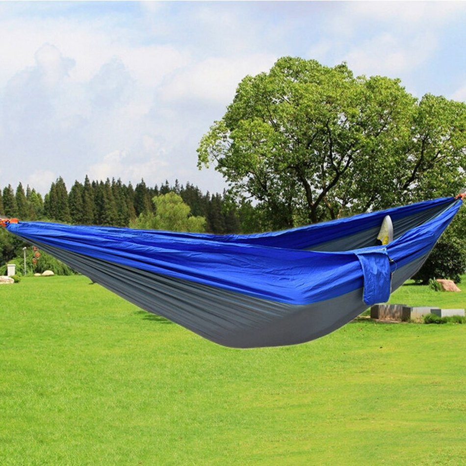 Newest Portable Fabric Double Hammock Parachute Nylon Durable Double Person Assorted Color For Indoor Outdoor Use Multi-color(China (Mainland))