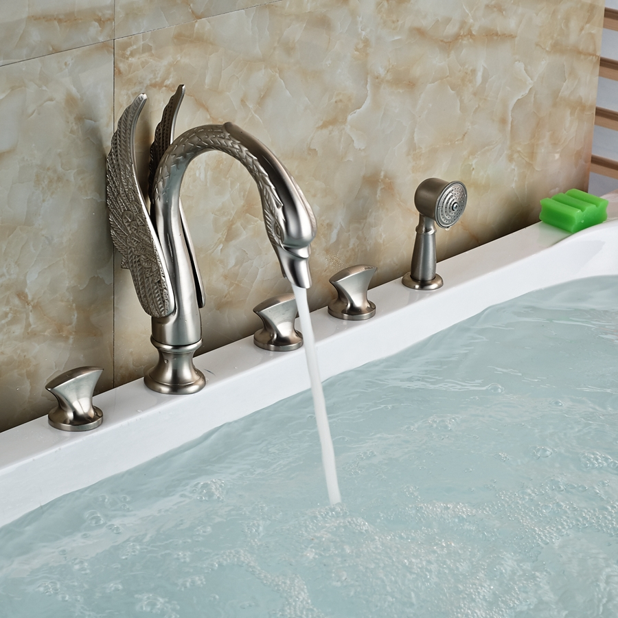com buy luxury swan bathroom tub faucet hand sprayer deck mounted