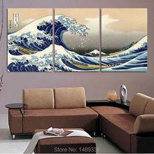 seascape landscape canvas painting 3 panels traditional art scenery picture great Wave off Kanagawa Katsushika Hokusai T/760(China (Mainland))