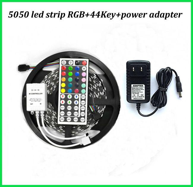 Led flexible strip light 5050 DC12V 5M 150leds +RGB controller 44Key IR remote control + 12V 2A Power adapter EU US UK AU plug(China (Mainland))
