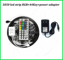 Free shipping led flexible strip light 5050 DC12V 5M 150leds +44Key IR remote controller+ 12V 3A Power adapter