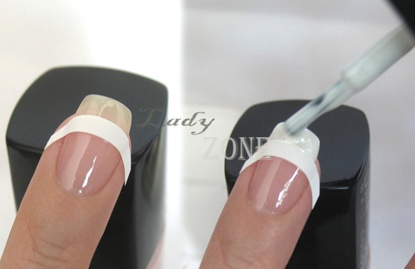 Hot Selling 3 pcs/lot French Manicure Nail Art Tips Form Fringe One Style Guides Sticker DIY Stencil 5723 B19 - lady zone 2013 store