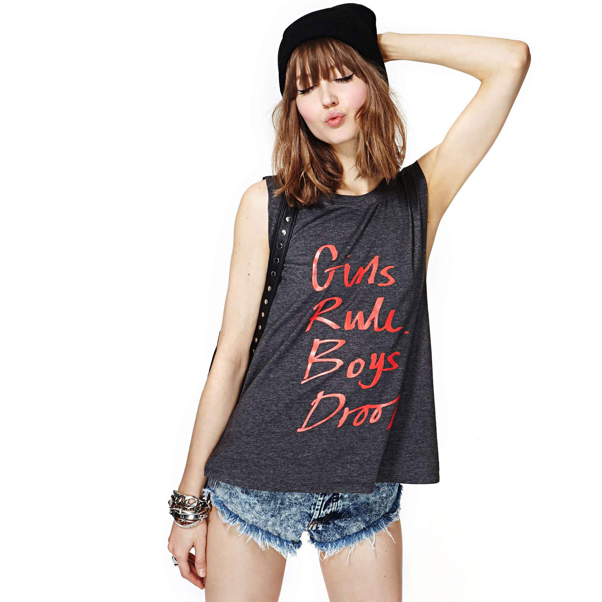 plus size XS-XXL western style fashion print letter Dark gray sleeveless O-neck woman's casual T-shirt - shanghai RJ FASHION CO LTD store