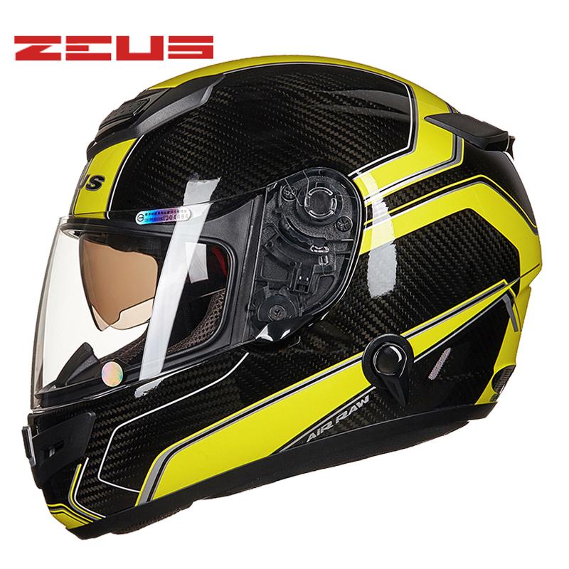 TOP Carbon fiber Anti-glare deceleration Full face helmet DOT Moto racing Motorbike helmets casco casque