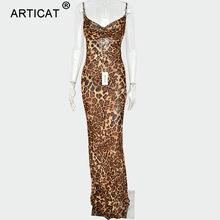 Articat Sexy V шеи Leopard вечерние платье Для женщин Спагетти ремень спинки тонкий макси платье Летнее шифоновое Длинные пляжные платья(China)