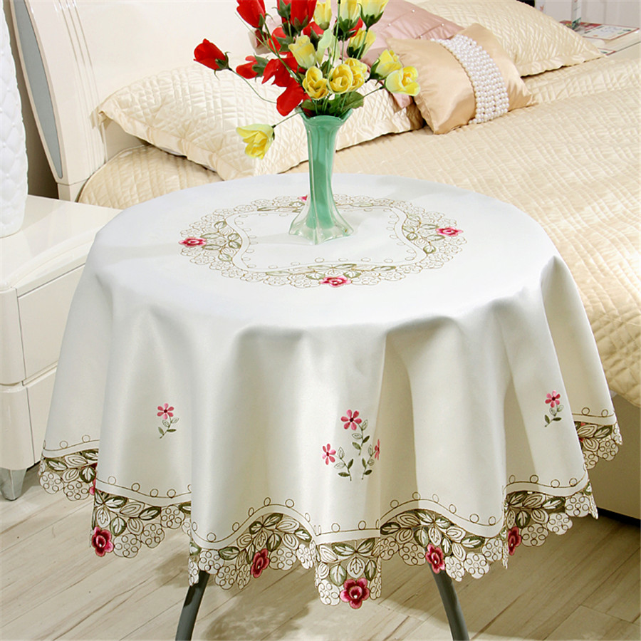 RS Europe luxury embroidered table cover Satin round dining table cover set tablecloth 622 flower table cloth Home Textile(China (Mainland))